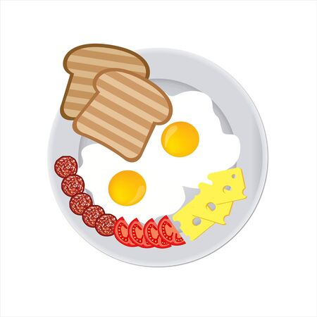 Fried eggs with toast, soft cheese, tomatoes and sausage on a plate isolated Illustration
