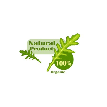 Stylish vector sticker flat design natural organic product