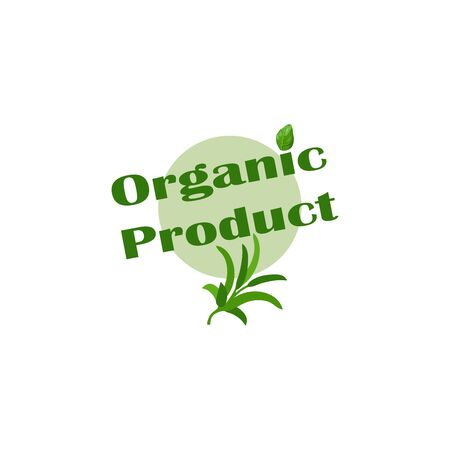 Stylish vector sticker natural, organic product isolated on white background