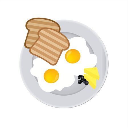 Tasty and nutritious breakfast - two fried eggs with cream cheese, toast and olives on a plate. Closeup isolated.