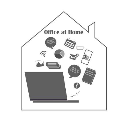 Remote work from anywhere in the world, online work at home. Self isolation, work freelance - flat vector illustration close-up isolated