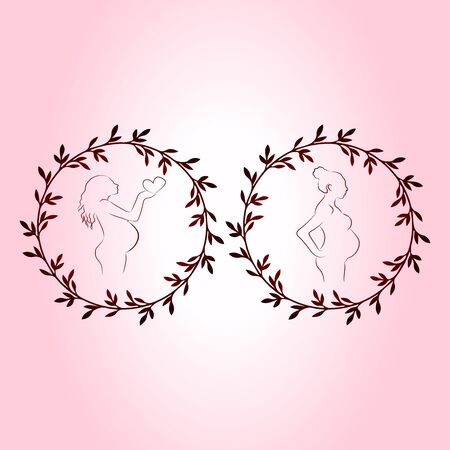 Collection of vector illustrations of pregnancy and childbirth, two silhouettes of pregnant women