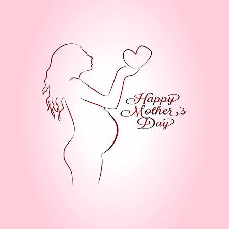 Beautiful vector happy mothers day card, silhouette of a pregnant girl on a pink background