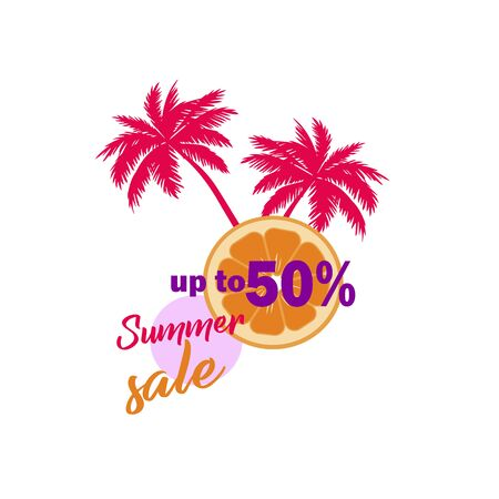 Stylish flyer flyer summer sales up to 50%. Summer discounts and sales - vector template. Silhouette of palm trees and slice orange flat design Illusztráció