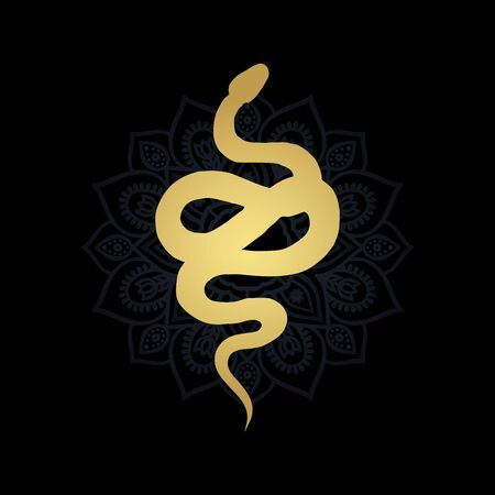 Golden silhouette of a snake and mandala vector illustration isolated Illustration