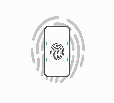Data Security on Smartphone - Fingerprint Lock Vector Illustration