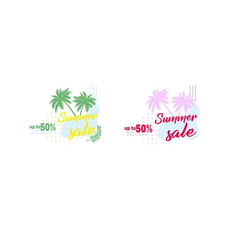 Advertisement about the summer sale . Flat design vector template low prices online shopping - summer discounts with palm trees.
