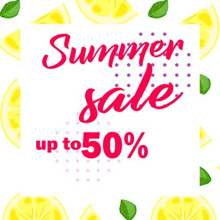 Citruses vector pattern. Summer sale up to 50 per cent off. Web banner or poster for e-commerce, on-line cosmetics shop, fashion beauty shop, store. Stock Illustratie