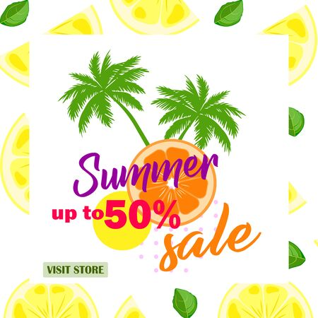 Citruses vector pattern .Summer sale up to 50 per cent off. Flat design. Web banner or poster for e-commerce, on-line cosmetics shop, fashion & beauty shop, store.