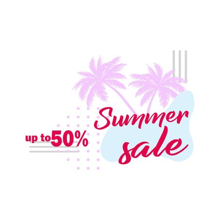 Palm leaf. Summer sale up to 50 per cent off. Watercolor design. Web banner or poster for e-commerce, on-line cosmetics shop, fashion & beauty shop, store.