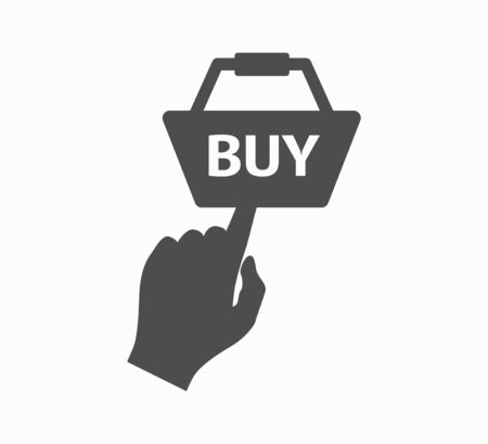 Hand and button buy now - online shopping. Online Shopping - Flat Vector Icon Isolated  イラスト・ベクター素材