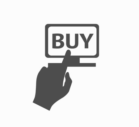 Hand and button buy now via laptop - online shopping. Online Shopping - Flat Vector Icon Isolated  イラスト・ベクター素材