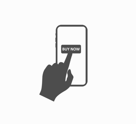 Hand and button buy now in a smartphone - online shopping. Online Shopping - Flat Vector Icon Isolated