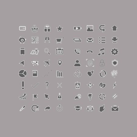 Larger collection of basic universal flat vector icons for smartphone, web site and e-commerce on a gray background
