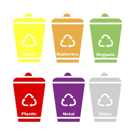 Garbage cans vector flat illustrations. Sorting garbage. Ecology and recycle concept.