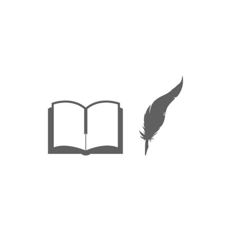 Old vintage open book and ink pen flat vector. Isolated illustration. Beautiful feather silhouette