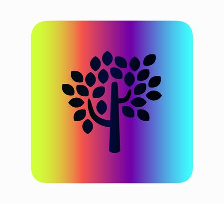 Tree silhouette neon style vector icon isolated