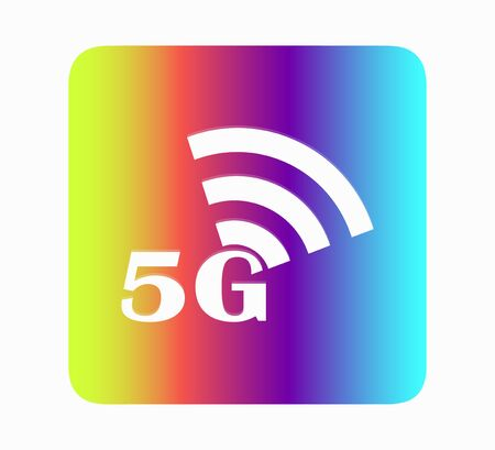 Pin icon with 5G sign symbol. High Speed Internet, Wireless. Neon design illustration vector