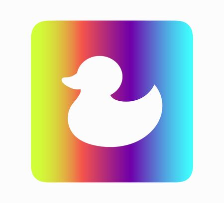 toy duck icon flat vector illustration neon style isolated