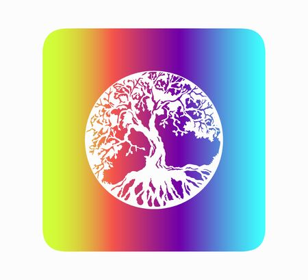 Stylish flat vector illustration of neon tree of life design. Silhouette of a beautiful old tree Vettoriali