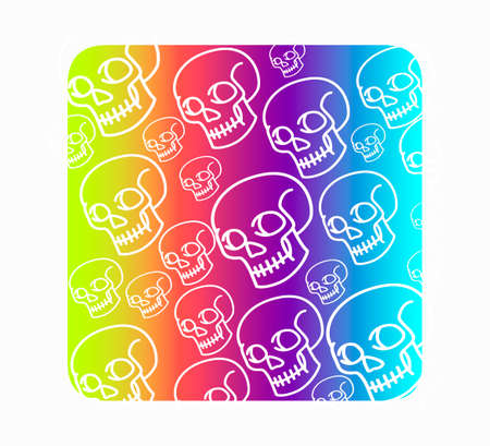 Vector seamless pattern with human skulls. Gradient fill, bright trend colors: purple, orange, blue on a black background.