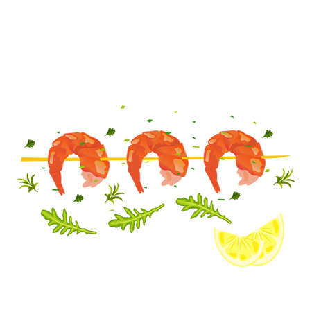 Grilled shrimp with lemon wedges - delicious seafood 向量圖像