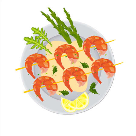 Plate with asparagus shrimp, lemon wedges and aromatic herbs. Seafood food concept. Flat vector illustration isolated