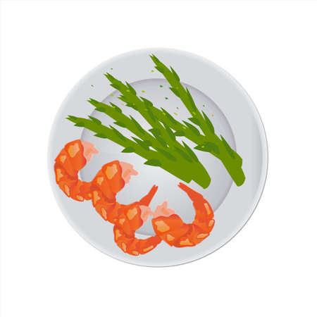 Fried shrimps with asparagus on a plate isolated close-up