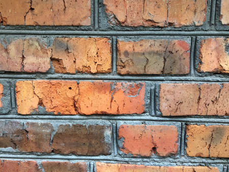 Red brick wall background. Vintage brick wall close-up, background texture Zdjęcie Seryjne