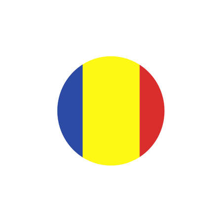 Flag of Romania as round glossy icon. Button with Romanian flag. Country symbol isolated flat design Ilustracja