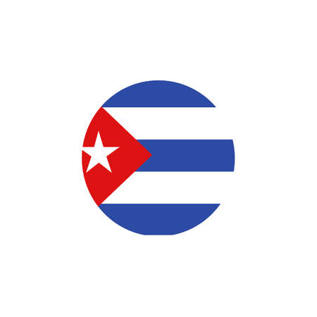 Vector - Cuba Flag Glossy Button. Country symbol isolated flat design
