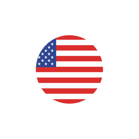 Vector - United States Flag Glossy Button. Country symbol isolated flat design