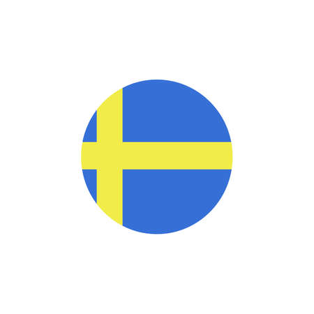 Flag of Sweden, swedish flag glossy button, vector? Country symbol isolated flat design