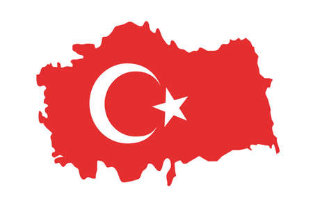 Turkey flag button on white. Country symbol isolated flat design Ilustracja