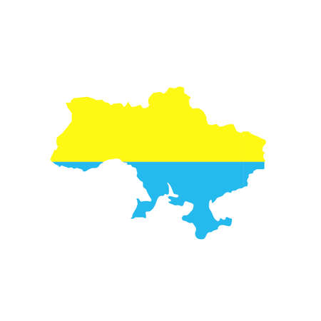 Round icon with national flag of Ukraine isolated on white background. Country symbol isolated flat design