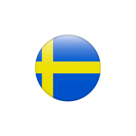 Flag of Sweden, swedish flag glossy button, vector. Country symbol isolated flat design