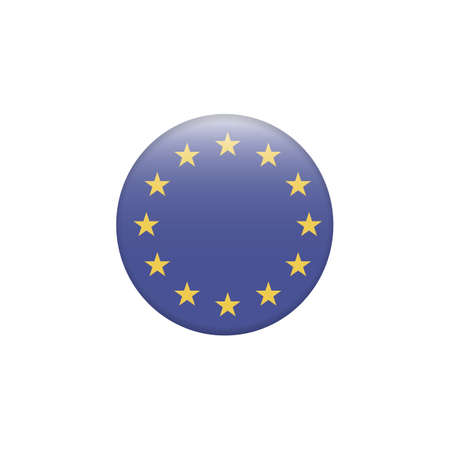 European Union-EU flag with exact dimensions and colors. Round button flag vector illustration isolated