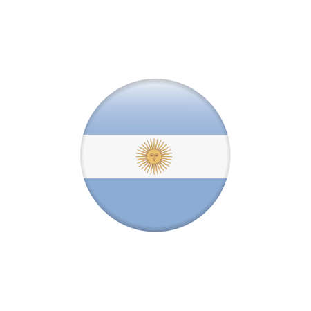 Vector - Argentina Flag Glossy Button. Round button flag vector illustration isolated. Country symbol - flat vector Zdjęcie Seryjne
