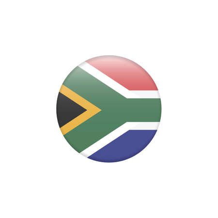 Accurate flag of South Africa in terms of colors, size, proportion, and placement of elements. Round button flag vector illustration isolated. Country symbol - flat vector