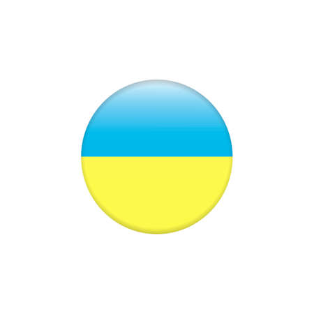 Round icon with national flag of Ukraine isolated on white background. Round button flag vector illustration isolated. Country symbol - flat vector