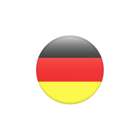 Vector - Germany Flag Glossy Button. Round button flag vector illustration isolated. Country symbol - flat vector