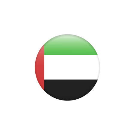 United Arab Emirates flag on button. Country symbol - flat vector