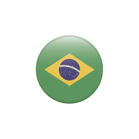 Brazil flag button on white Zdjęcie Seryjne