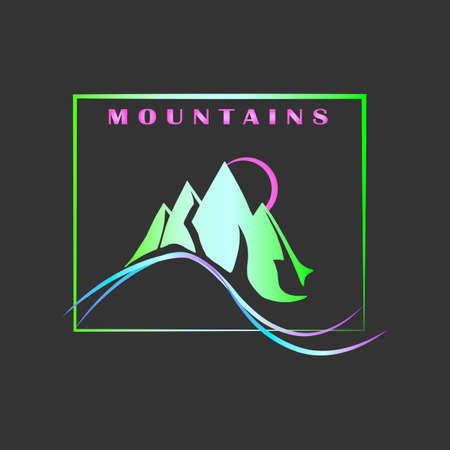 Vector template mountains gradient green neon design on gray background