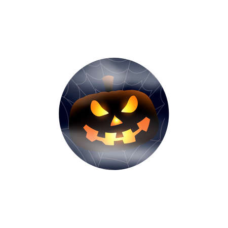 Scary glowing pumpkin jack on foggy background isolated. Happy Halloween.