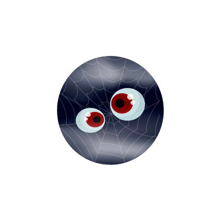 Cartoon expression monster. Crazy eyes and cobweb - stylish vector template for Halloween design. Zdjęcie Seryjne