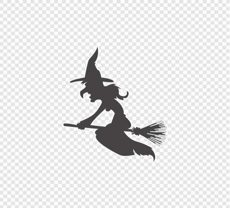 Witch flies on a broomstick on  transparent