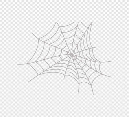 Creepy spider web over transparent background. Happy Halloween. Vector template for design