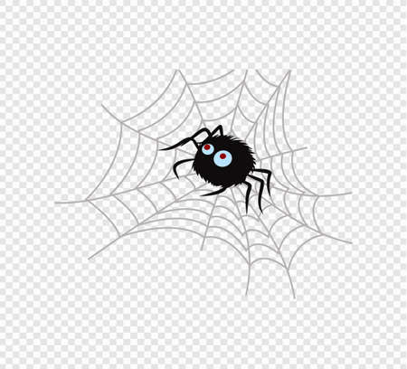 Cute spider and webs over on transparent background. Happy Halloween. Vector template for design Illusztráció
