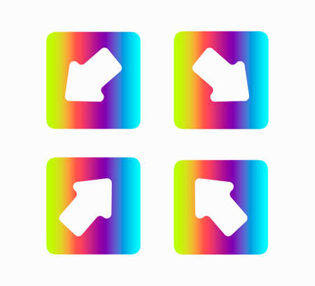 Arrows icons set. rainbow print design guides, arrows isolated